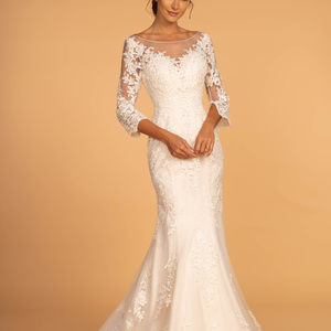Patterned Illusion Neck Long Wedding Dress GL2598